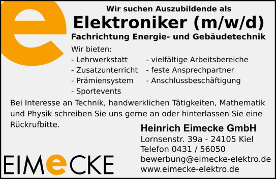 Ausbildung zum Elektroniker (M/W/D)